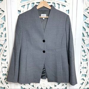 Armani Collezioni Gray Textured Two Button Blazer